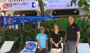 PADI Regional Manager Jimmy Christrup welcoming  GM Karl Marchant and Assistant Manager Gracian Dela Roas from Scuba For Change as a PADI Resort.