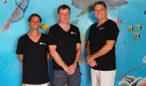 SFC Chairman Mike McGuiness and SFC board member Phil Enright visited from Australia and joined General Manager and PADI instructor Karl Marchant for the grand opening.